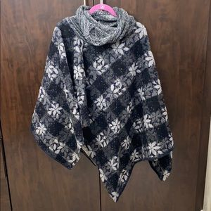 Urban Outfitters reversible wool poncho.
